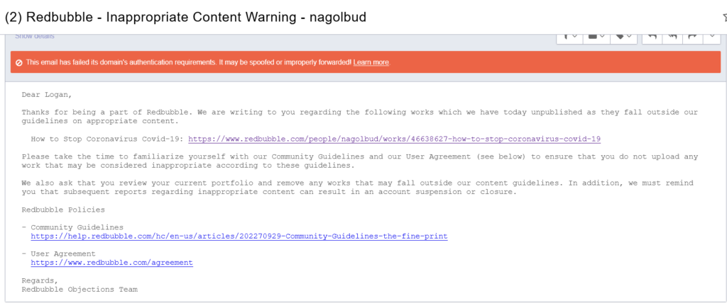 Red Bubble Censorship